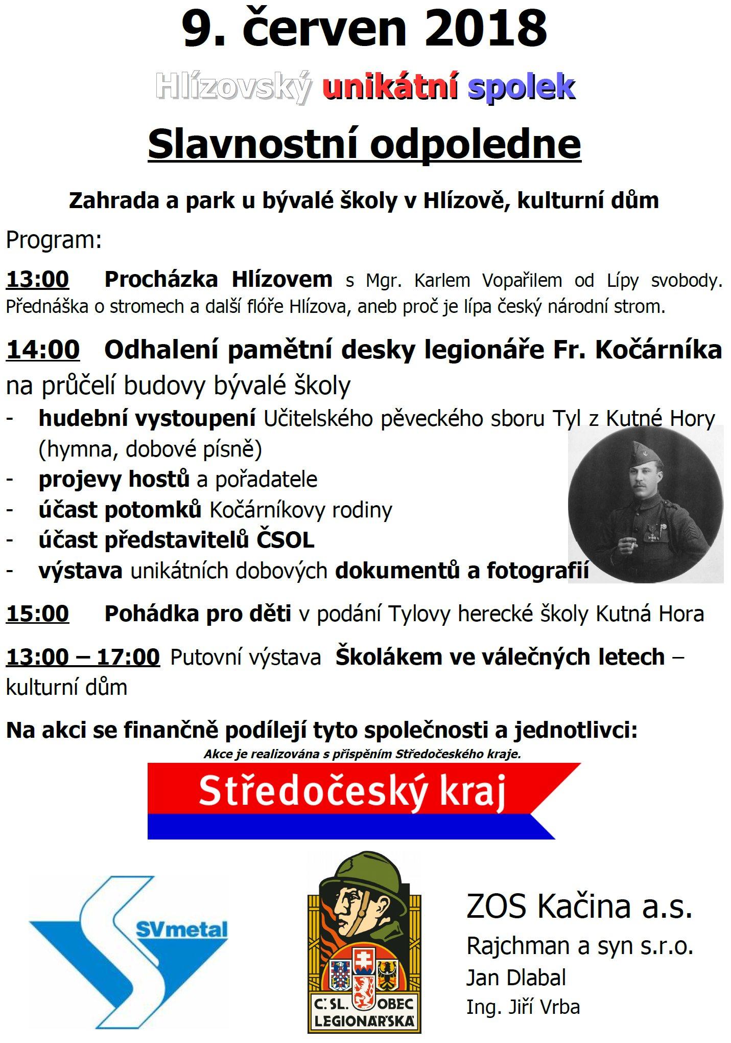 9.6.2018 Hlízov slavnostní odpoledne s odhalením pamětní desky