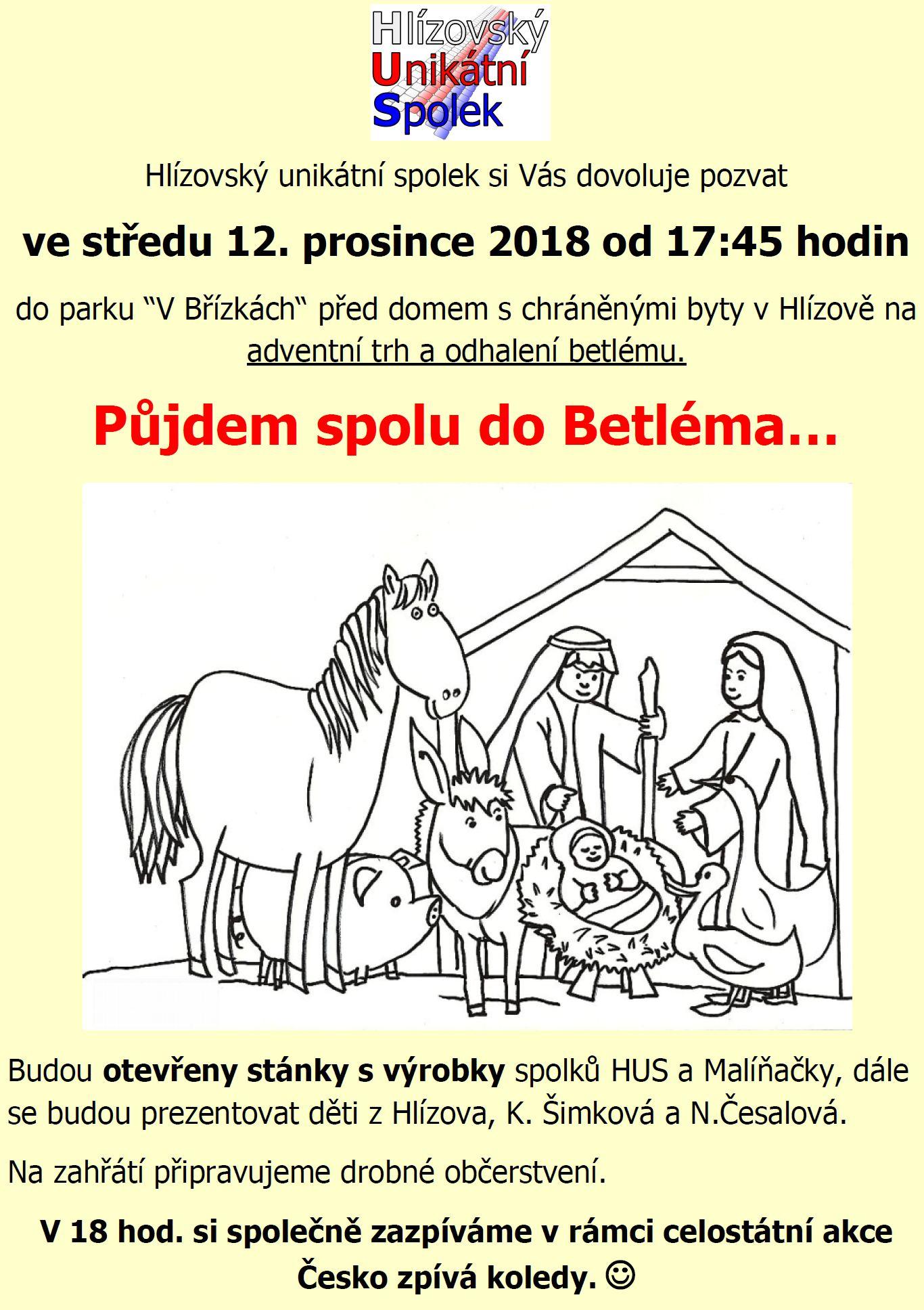 Adventní trh a tradiční zpívání koled 12. prosince 2018