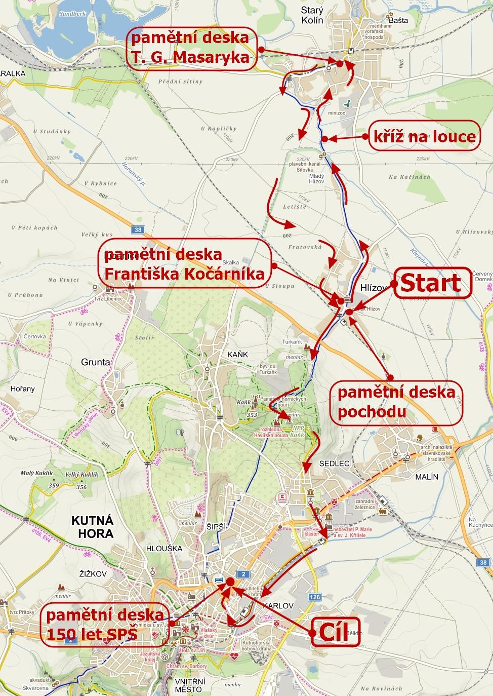 Mapa trasy Jarního putování se sv. Jakubem 5.6.2021